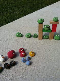 Angry Birds {made from stones and paint} - My Toddler is a HUGE fan! #angrybirds