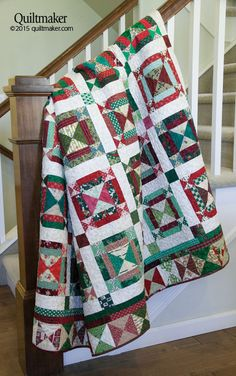 Jingle Bell Square scrap quilt by Bonnie Hunter for Quiltmaker's Nov/Dec 2015 issue - also available as a digital pattern!