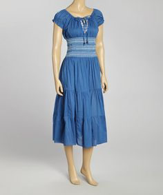 This Blue Embroidered Peasant Dress - Women by Sol Clothing is perfect! #zulilyfinds