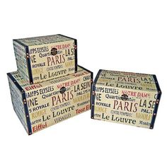 Cheungs Small Trunk with Parisian Typography (Set of 3)