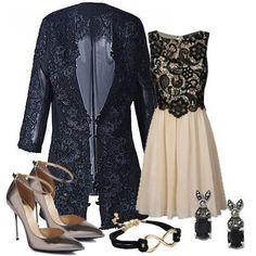 Black Long Sleeve Embroidery Lace Blazer