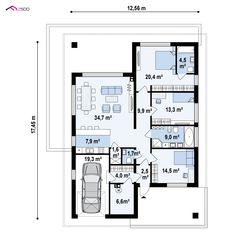 Z443 to wyjątkowy dom z kategorii projekty domów z garażem jednostanowiskowym Beautiful House Plans, Beautiful Homes, Two Bedroom House, Architectural House Plans, Projects To Try, New Homes, Floor Plans, Exterior, House Design
