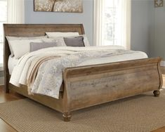 Trishley King Sleigh Bed by Signature Design by Ashley. Get your Trishley King Sleigh Bed at Brooks Furniture, Albany GA furniture store. Wood Sleigh Bed, Sleigh Beds, Bedding Master Bedroom, Bedroom Sets, Bedroom Stuff, Master Bedrooms, Master Room, Girls Bedroom, Dreams Bed Frames
