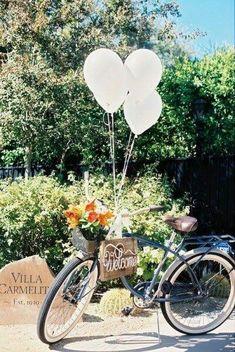 Bicicleta como decoración en la boda