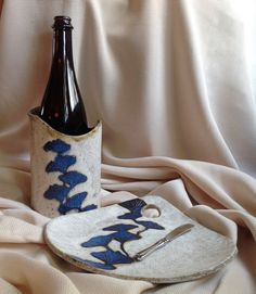 Stoneware Wine Chiller Crock and Cheese Tray Gift by LisaMelitaArt, $65.00