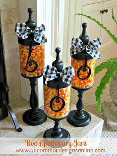 """""""BOO!!"""" candy corn jars for Halloween.    Also see them with Christmas theme & peppermints!  Love!  Apothecary Jars 