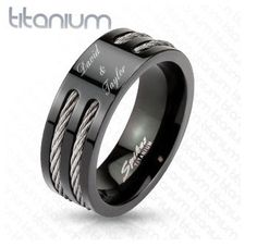 419391b4d8 Engagement bands · Great Gift Idea - Personalized Solid Titanium Black Two  Wire In Slit Center Band Ring -