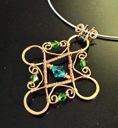 Looped and Wire Wrapped Copper Pendant