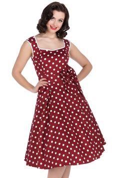 De sejeste Rød Kjole med Hvide Polkaprikker 50 Modetøj til Damer i luksus kvalitet