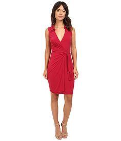 Christin Michaels Gracy Sleeveless Wrap Dress with Collar