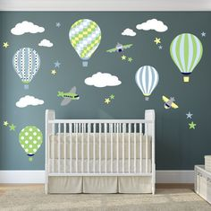 Hot Air Balloons & Jets Nursery Wall Stickers / Decals - pinned by pin4etsy.com