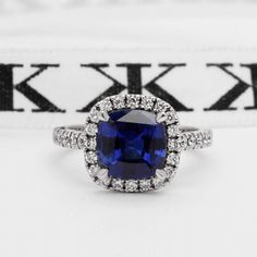 Blue sapphire diamond halo engagement ring by Kalfin Jewellery #custommade#diamondrings#handmade#diamondringsmelbourne#engagementringsmelbourne#cbdjewellers#melbourne#design#details www.kalfin.com.au