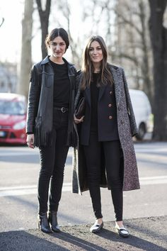 Parisian street style, all black everything