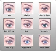 pictures of eye colors | Eye Color Chart