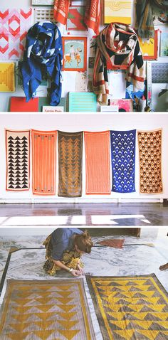 Block shop scarves, hand block printed with natural dyes in India