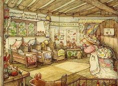 """jcstitches: """" Brambly Hedge by Jill Barklem I adore the nostalgic beauty illustrations. They're full of warm colors and charm and hundreds of little details, and I would love to take my own art closer. Art And Illustration, Book Illustrations, Beatrix Potter, Brambly Hedge, Whimsical Art, Hedges, Cute Art, Vintage Art, Illustrators"""