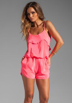 Karina Grimaldi Raffaela Solid Romper in Neon Pink- I hear Body Central sells really cute rompers. Look Fashion, Fashion Outfits, Womens Fashion, Free Clothes, Clothes For Women, Top Mode, Summer Outfits, Cute Outfits, Revolve Clothing