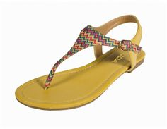 Mochi! By Soda Fashion Classic Woven Zig Zag Colorful Pattern T-strap Thong Flat Sandals in Yellow Leatherette with Multi Colored T-Strap -- See this great product. #womenshoe