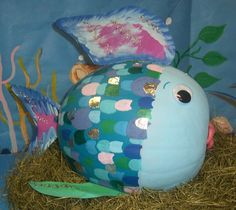The Rainbow Fish From Mrs. Rideout's class in Wacona's Annual Great Pumpkin Event Pumpkin Books, Pumpkin Art, Pumpkin Crafts, Fall Crafts, Pumpkin Ideas, Pumpkin Painting, Pumpkin Designs, Pumpkin Carvings, Ideas