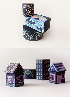 DIY: Woodblocks covered in chalkboard paint.