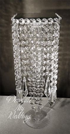 DIY Centerpiece stand, old candle stick or vase topped with crystal beaded platform