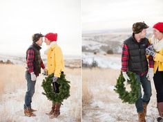 If one person wears a pattern, the other should wear a solid.   Adorable Christmas session by Gabriel and Carin Photography