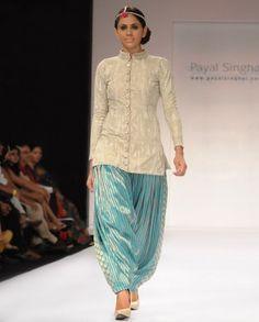 #Exclusivelyin, #IndianWear, #Fashion, Embroidered Off-white Sharwani Kurta and Salwar