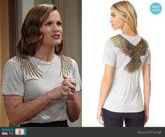 Chelsea's top with bird on the back on The Young and the Restless.  Outfit Details: https://wornontv.net/62744/ #TheYoungandtheRestless