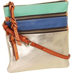 Dooney  Bourke Lambskin Color Blocks North/South Triple Zip