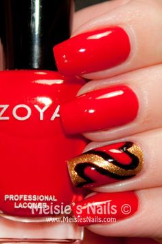 Meisie's Nails , I'm not a big fan of bright red Polish but I'l definitely try this :)