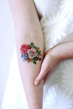 Pretty floral temporary tattoo