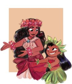 "judylavernehopps: ""commission of lilo and moana for @lilopelekai"