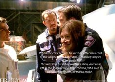 "shewhohangsoutincemeteries:  FireflyFacts 19/98 | Ariel ""When the crew returns to Serenity after their raid of the Alliance hospital in ARIEL, Mal hugs Kaylee from behind. This was improvised by Nathan Fillion, and was left in the shot because Joss Whedon felt it such a natural movement for Mal to make."""