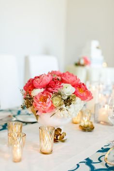 Gold Chevron Votive Candle Holders with Coral Peony Centerpieces   Kina Wicks Photography   The Secret to Holiday Wedding Planning!
