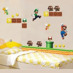 Amazon.com: Jazzy Free Shipping New Super Mario Bros Kids Removable Wall Sticker: Home & Kitchen