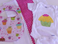Applique Cupcake Onesie  Burp Cloth and Bib Sets by Stitchedbygigi, $21.00