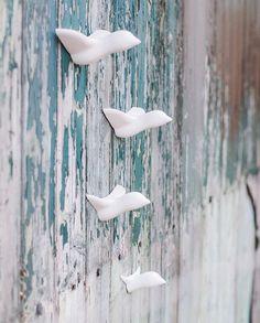 """Muur ontwerp """"kleine zwerm vogels"""" - levende idee gemaakt van de fijnste keramiek, Behangen woonkamer, Tuin, Wall Art, Spring"""