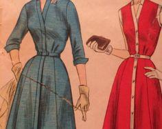 Annata 1957 Shirtwaist abito modello completo gonna maniche