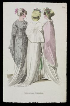 Fashion plate showing a promenade dress. 1800s Fashion, 18th Century Fashion, 19th Century, Regency Dress, Regency Era, Capes For Women, Historical Clothing, Fashion Plates, Hand Coloring
