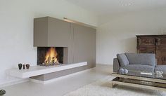 Idea for a fireplace. Modern Fireplace, Fireplace Design, Contemporary Fireplaces, Interior Architecture, Interior Design, Stove Fireplace, Home And Living, Living Room, Building A House