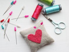 V and Co.: V and Co: how to: french knot heart pin cushion