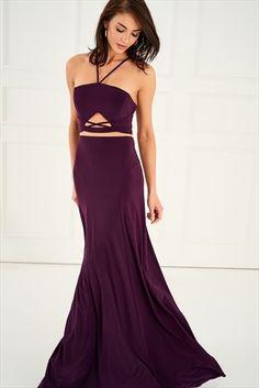 Mor Bel Detaylı Elbise