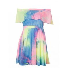 Choies Color Block Off Shoulder Tie Dye A-line Dress (71 RON) ❤ liked on Polyvore featuring dresses, multi, tie-dye dress, blue a line dress, colorblock dress, blue off the shoulder dress and blue dress