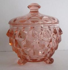 Vintage Pink Depression Jeannette Glass Candy Footed Candy Dish with Lid Cubist