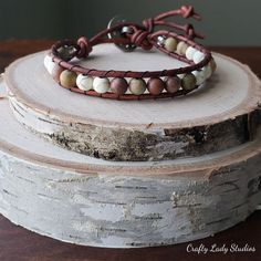 Leather single wrap bracelet with Chinese Rainbow Jasper and dyed white howlite