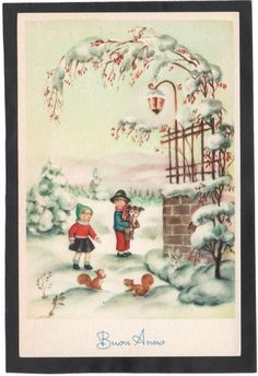 Cartolina Buon Anno Bambini con Cagnolino Scoiattoli Lanterna PMCE 964/1 YG134 Vintage Pins, Vintage Cards, Vintage Images, Vintage Christmas Cards, Vintage Postcards, Fairytale, Victorian, Illustrations, My Favorite Things