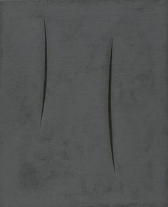 "Lucio Fontana (Italian, born Argentina. 1899–1968)  Spatial Concept: Expectations  Date:1959Medium:Synthetic polymer paint on slashed burlapDimensions:39 3/8 x 32"" (100 x 81.5 cm)Credit Line:Philip Johnson FundMoMA Number:413.1960Copyright:© 2015 Fondation Lucio Fontana"