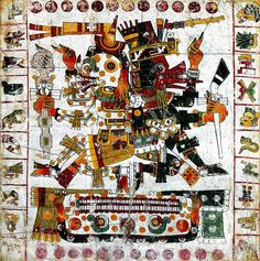 PAINTED CODEX: Quetzalcoatl as Ehecatl is on the right and the other god is Mictlantecuhtli