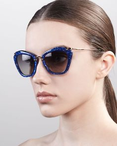 Miu Miu Extreme Catwalk Sunglasses, Royal Blue on shopstyle.com