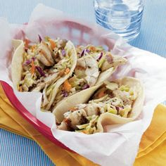Fish Tacos with Sesame Ginger Slaw   MyRecipes.com #MyPlate #protein #vegetable #grain